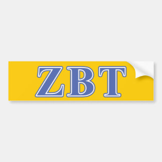 Zeta Beta Tau Blue Letters Bumper Sticker
