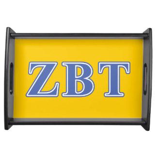 Zeta Beta Tau Blue Letters Food Tray