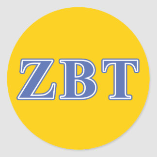 Zeta Beta Tau Blue Letters Round Stickers