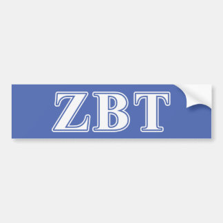 Zeta Beta Tau White and Blue Letters Bumper Sticker