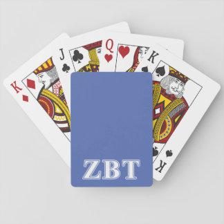 Zeta Beta Tau White and Blue Letters Card Decks