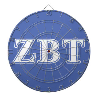 Zeta Beta Tau White and Blue Letters Dartboard With Darts