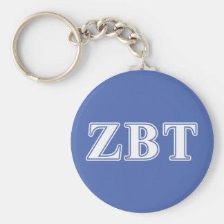 Zeta Beta Tau White and Blue Letters Keychain