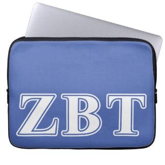 Zeta Beta Tau White and Blue Letters Computer Sleeves