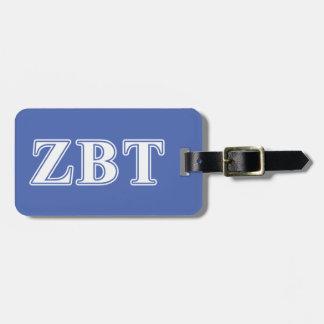 Zeta Beta Tau White and Blue Letters Travel Bag Tag