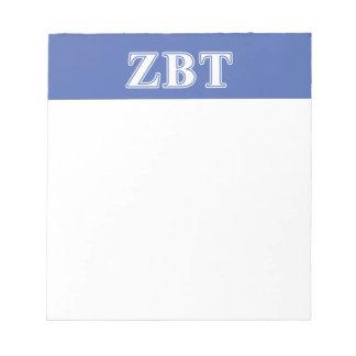 Zeta Beta Tau White and Blue Letters Memo Pad