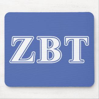 Zeta Beta Tau White and Blue Letters Mouse Pad