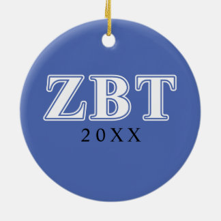 Zeta Beta Tau White and Blue Letters Christmas Ornaments