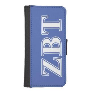 Zeta Beta Tau White and Blue Letters Phone Wallets