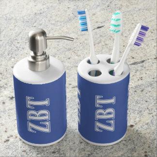Zeta Beta Tau White and Blue Letters Bath Accessory Sets
