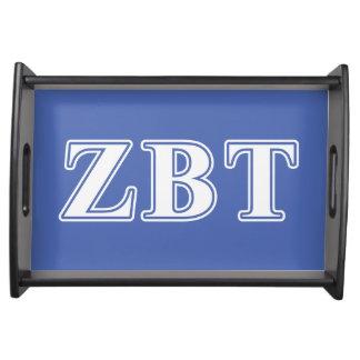 Zeta Beta Tau White and Blue Letters Serving Platter