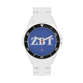 Zeta Beta Tau White and Blue Letters Wristwatch