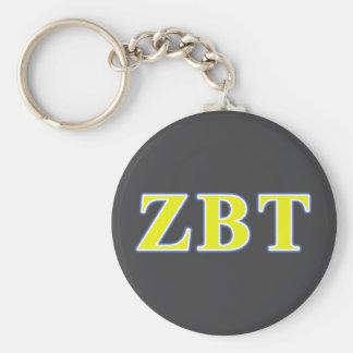 Zeta Beta Tau Yellow and Blue Letters Basic Round Button Keychain