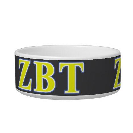 Zeta Beta Tau Yellow and Blue Letters Bowl
