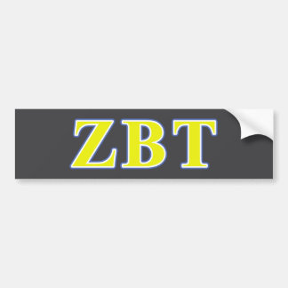 Zeta Beta Tau Yellow and Blue Letters Bumper Sticker
