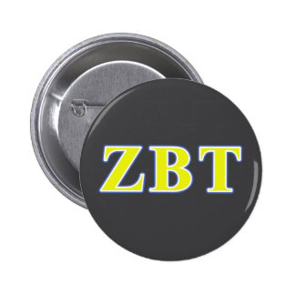 Zeta Beta Tau Yellow and Blue Letters Button