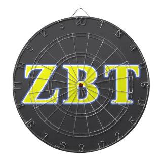 Zeta Beta Tau Yellow and Blue Letters Dart Board
