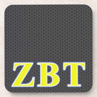 Zeta Beta Tau Yellow and Blue Letters Drink Coaster