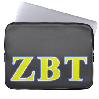 Zeta Beta Tau Yellow and Blue Letters Laptop Computer Sleeves