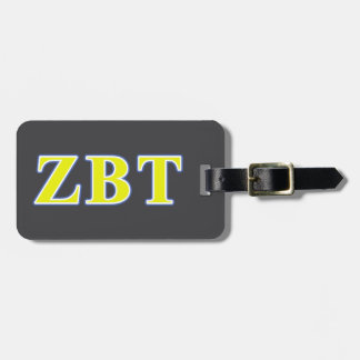 Zeta Beta Tau Yellow and Blue Letters Tag For Luggage
