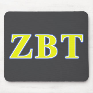 Zeta Beta Tau Yellow and Blue Letters Mouse Pad