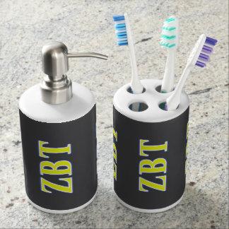 Zeta Beta Tau Yellow and Blue Letters Bath Accessory Set