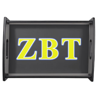 Zeta Beta Tau Yellow and Blue Letters Serving Trays