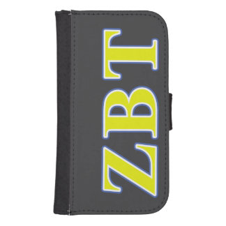 Zeta Beta Tau Yellow and Blue Letters Galaxy S4 Wallet Cases