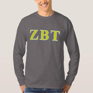 Zeta Beta Tau Yellow and Blue Letters Tee Shirts