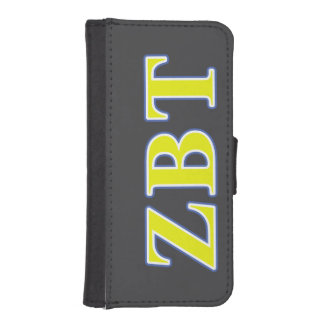 Zeta Beta Tau Yellow and Blue Letters Wallet Phone Case For iPhone SE/5/5s