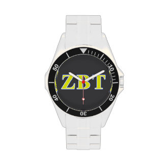 Zeta Beta Tau Yellow and Blue Letters Watch
