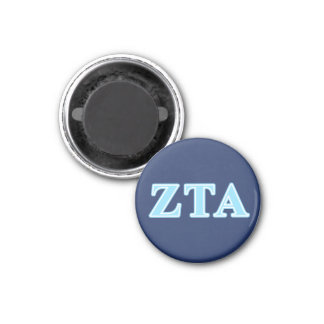 Zeta Tau Alpha Baby Blue Letters 1 Inch Round Magnet