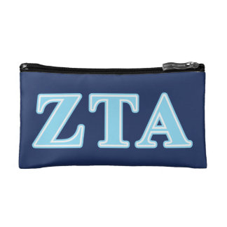 Zeta Tau Alpha Baby Blue Letters Cosmetics Bags