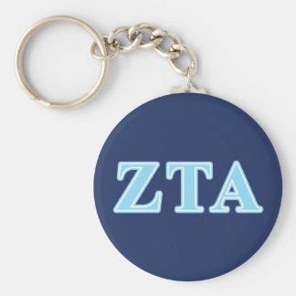 Zeta Tau Alpha Baby Blue Letters Basic Round Button Keychain