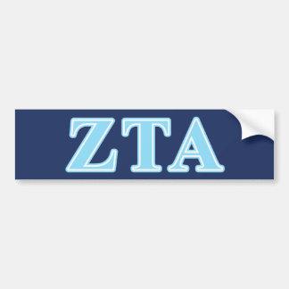 Zeta Tau Alpha Baby Blue Letters Bumper Sticker