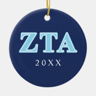 Zeta Tau Alpha Baby Blue Letters Ceramic Ornament
