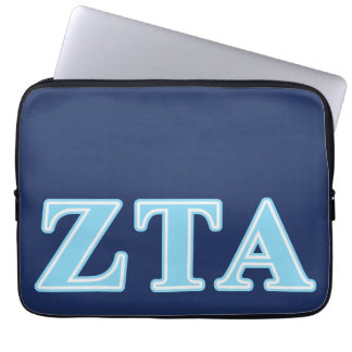 Zeta Tau Alpha Baby Blue Letters Computer Sleeves