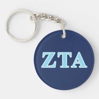 Zeta Tau Alpha Baby Blue Letters Double-Sided Round Acrylic Keychain