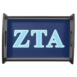 Zeta Tau Alpha Baby Blue Letters Food Tray