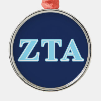Zeta Tau Alpha Baby Blue Letters Metal Ornament
