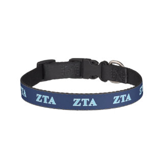 Zeta Tau Alpha Baby Blue Letters Pet Collar