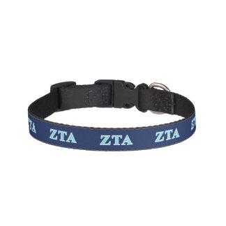 Zeta Tau Alpha Baby Blue Letters Pet Collar