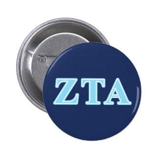 Zeta Tau Alpha Baby Blue Letters Pinback Button