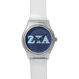 Zeta Tau Alpha Baby Blue Letters Wristwatches