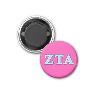 Zeta Tau Alpha Navy Blue and Baby Blue Letters 1 Inch Round Magnet