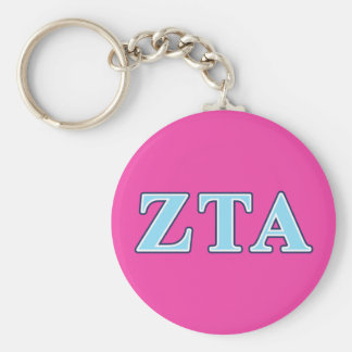 Zeta Tau Alpha Navy Blue and Baby Blue Letters Basic Round Button Keychain