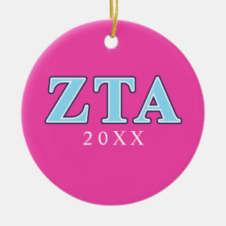 Zeta Tau Alpha Navy Blue and Baby Blue Letters Ceramic Ornament