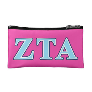 Zeta Tau Alpha Navy Blue and Baby Blue Letters Cosmetic Bag
