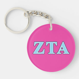 Zeta Tau Alpha Navy Blue and Baby Blue Letters Double-Sided Round Acrylic Keychain