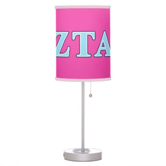 Zeta Tau Alpha Navy Blue and Baby Blue Letters Table Lamps